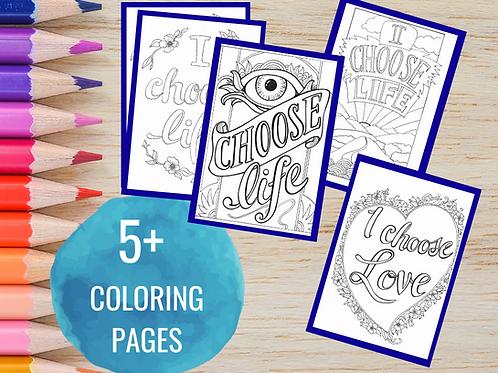 Printable Affirmations Coloring Bundle