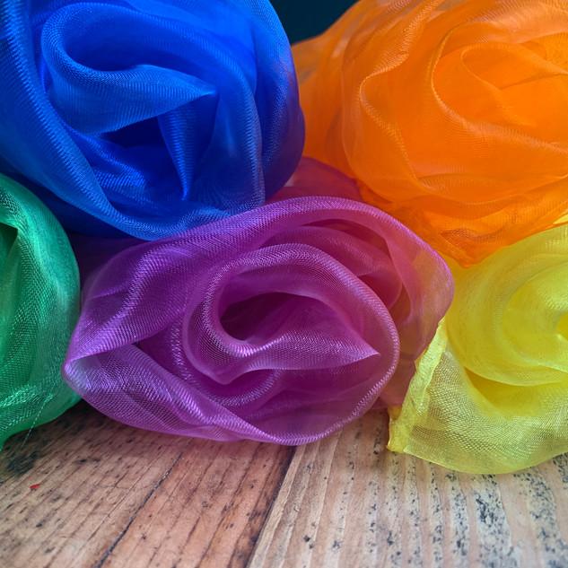 Colourful sensory scarves