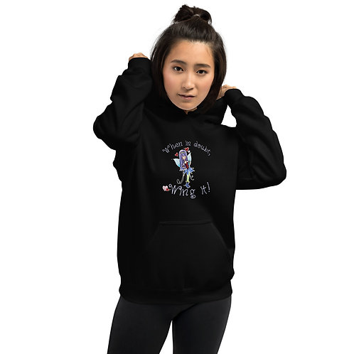 """Classic """"Wing it"""" Unisex Dark Hoodie with Light Text"""