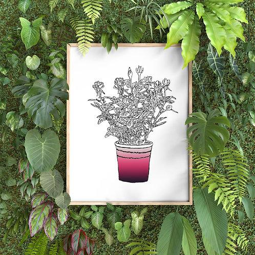Framed wall decor  ( flowerpot)