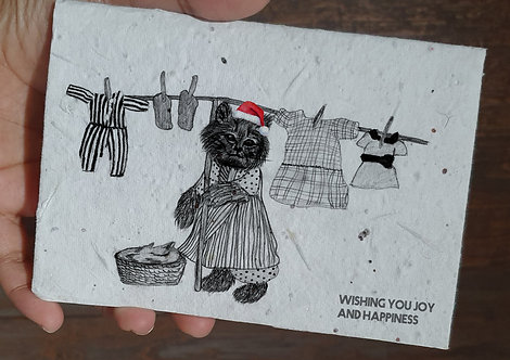seed embed greeting card, Handmade Greeting cards, plantable greetings c