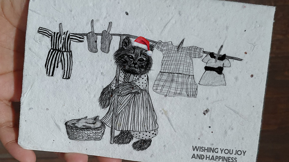cat/cloths, seed embed greeting card, Handmade Greeting cards