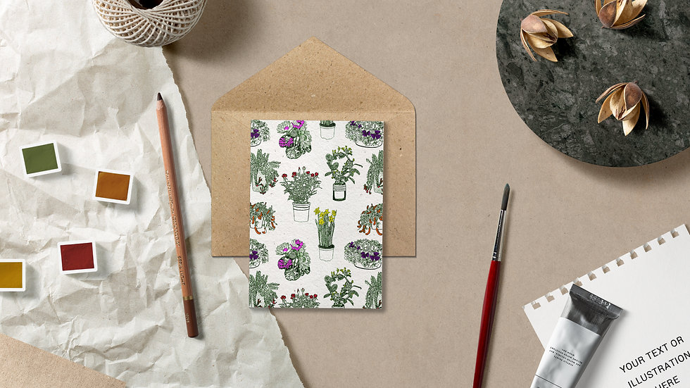 Seed embed plantable greeting card-House plants