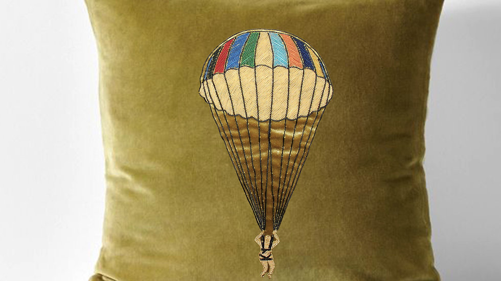 gold work embroidered cushion - parachute