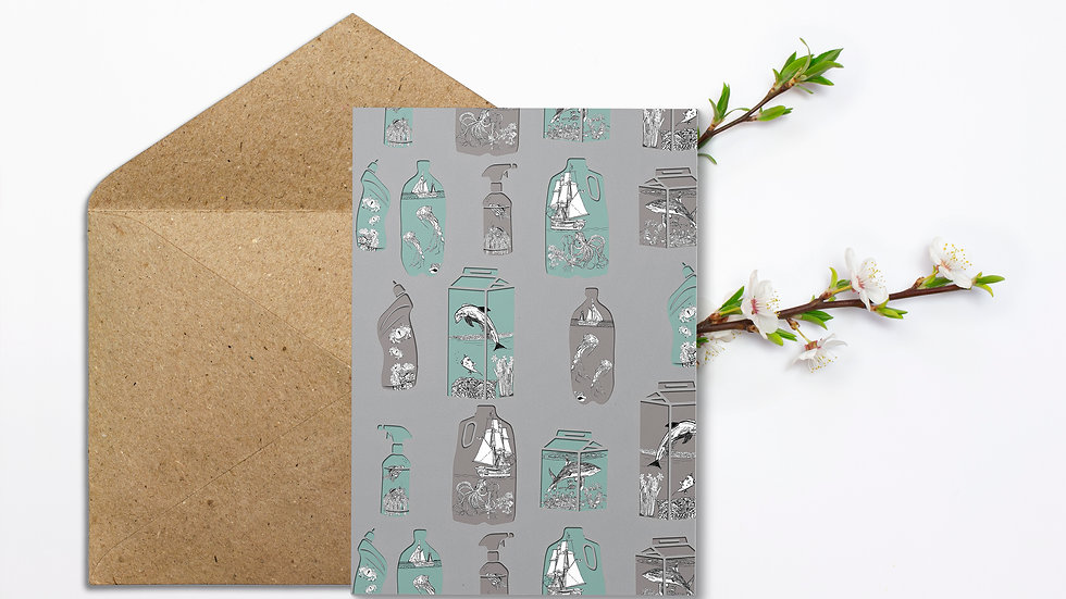 Seed embed plantable greeting card-Terrarium - plastic pollution in the oceans