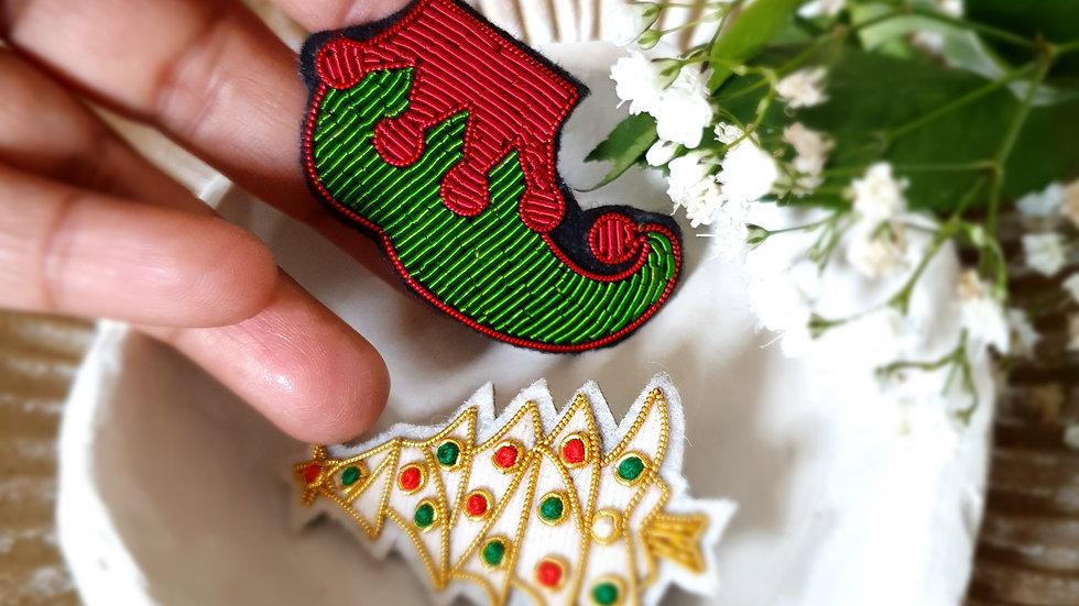 Elf Socking -Gold Work Christmas Brooch