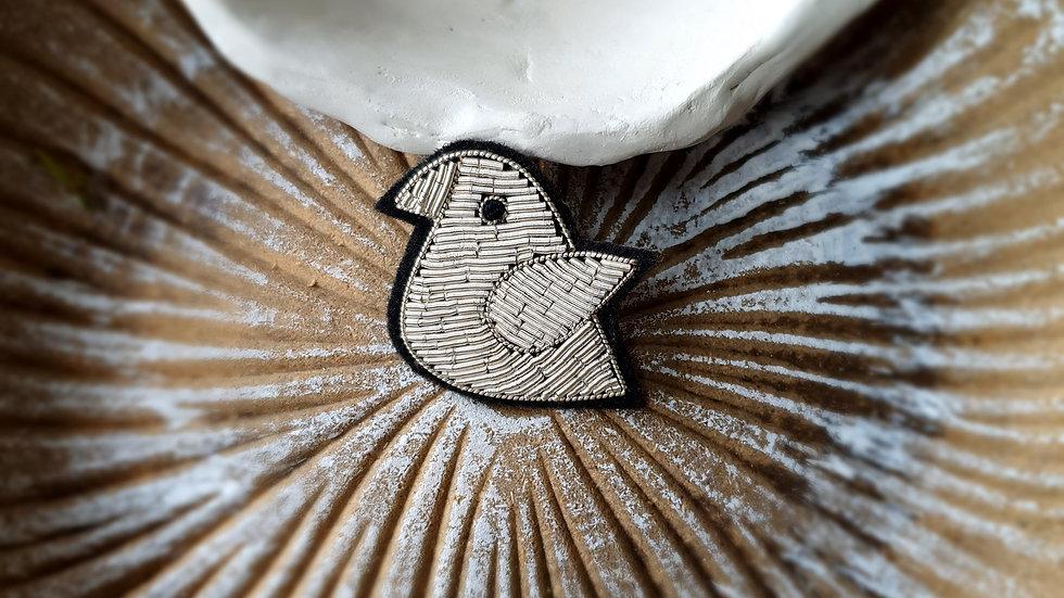 Silver Bird - Gold Work Brooch