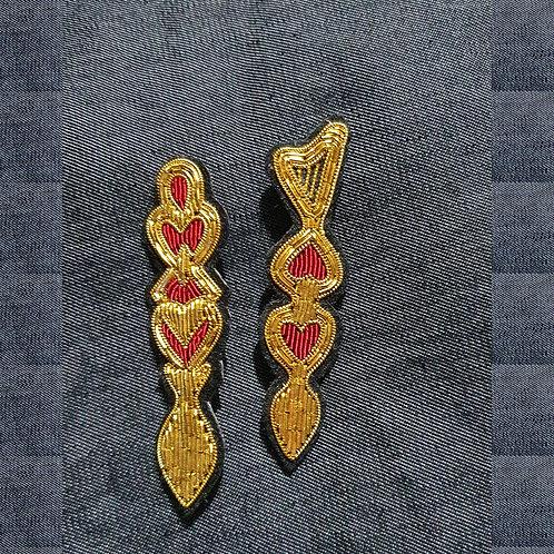Welsh Love Spoon - Red  - Gold Work Brooch