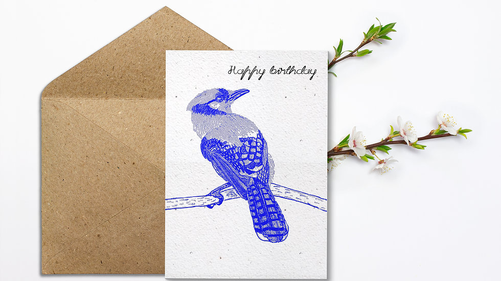 Seed embed plantable greeting card-Patterned Bird