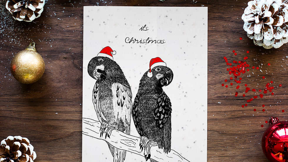 parrots 2/seed embed greeting card, Handmade Greeting cards