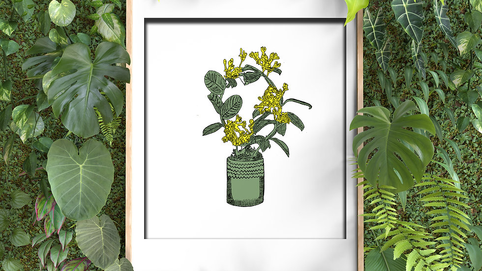 Framed wall decor  ( green flowerpot)
