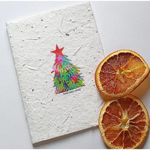 Christmas tree ,seed embed greeting card, Handmade Greeting cards