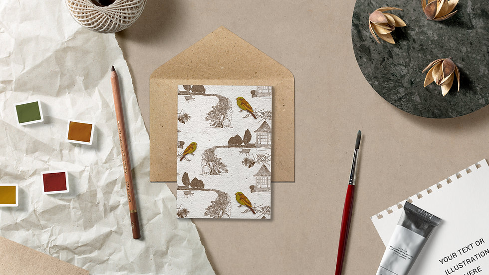Seed embed plantable greeting card-Hint of Gold - 1