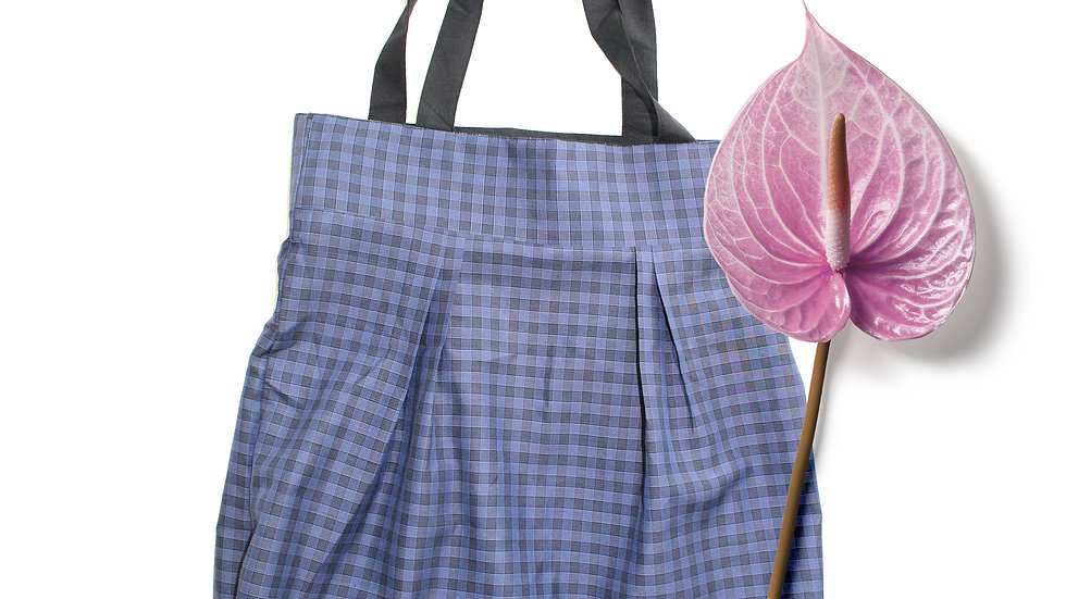 2 in 1 reversible hand made tote bag , Gingham/pure cotton,black