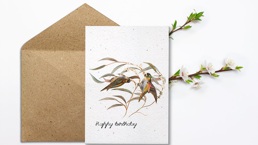 Seed embed plantable greeting card-Two Birds