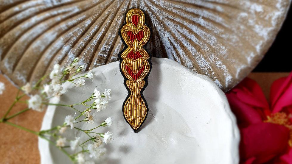 Welsh Love Spoon - HEART DESIGN - Gold Work Brooch
