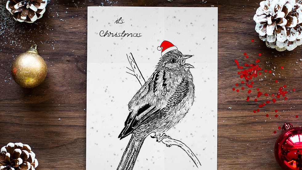 seed embed plantable greeting card ,sparrow 2