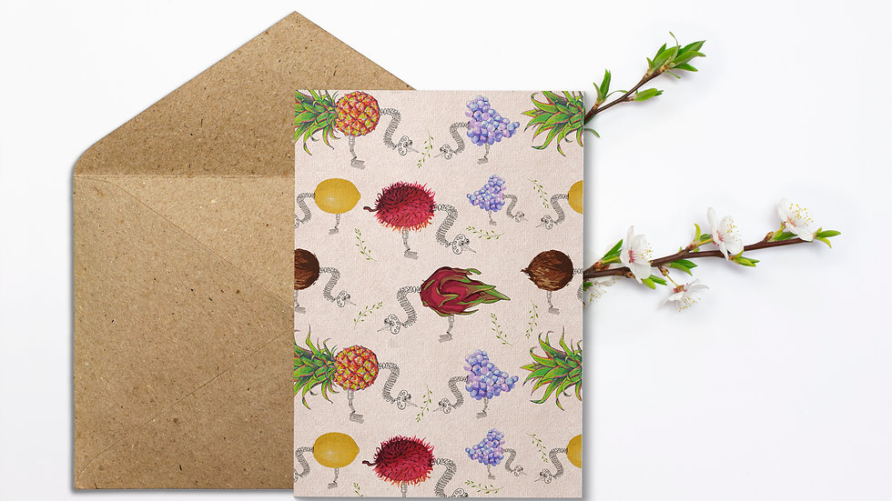 Seed embed plantable greeting card-Bird and Fruit