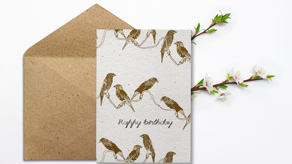 Seed embed plantable greeting card-Birds on the line