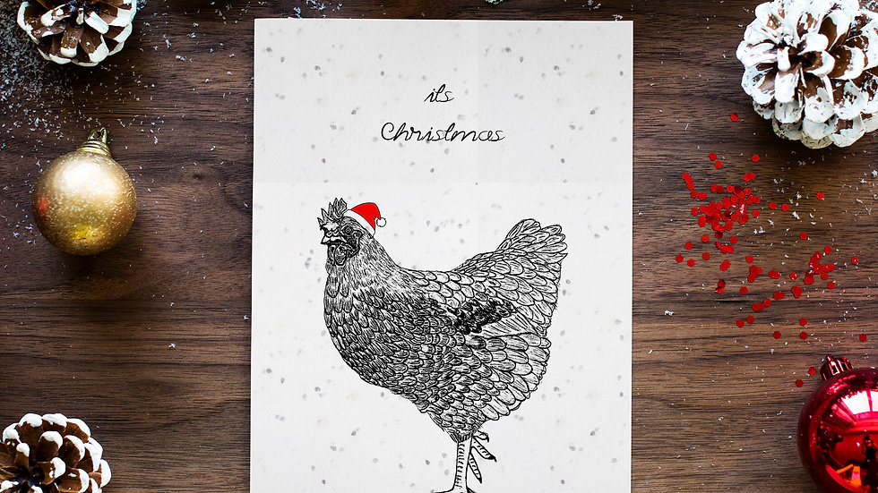 seed embed plantable greeting card ,hen/seed