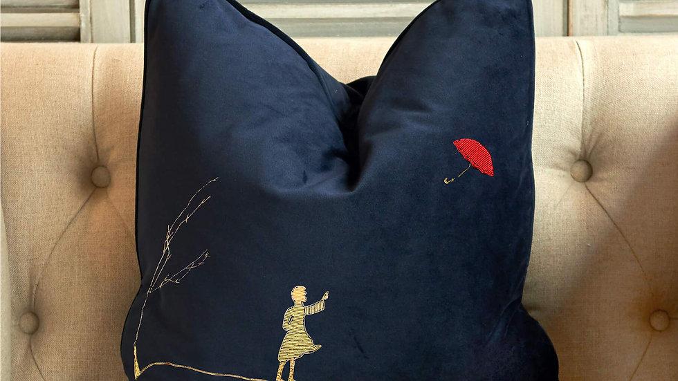 gold work embroidered cushion - umbrella