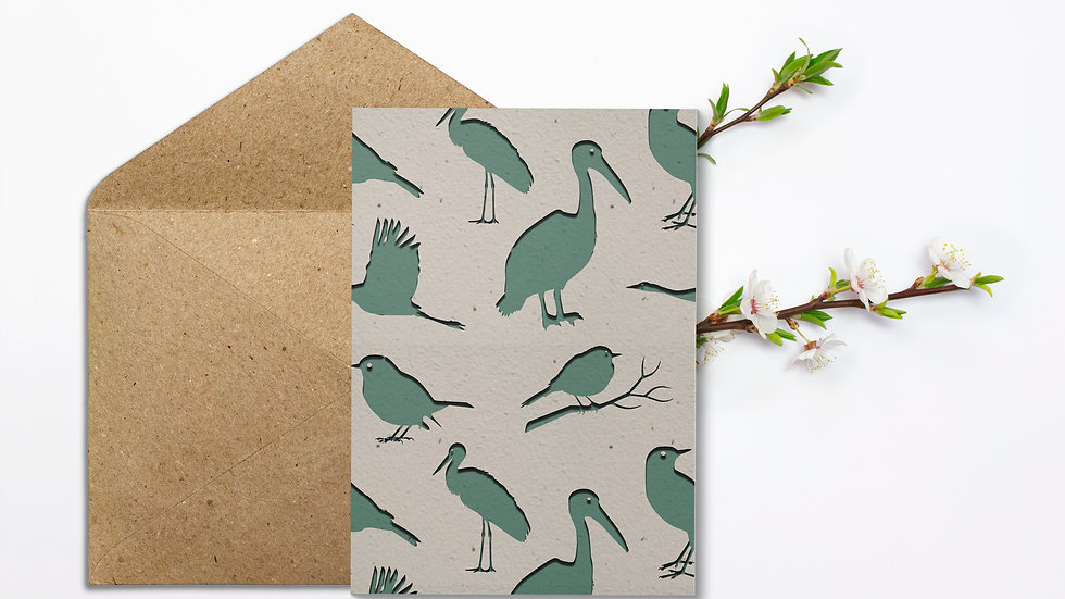 Seed embed plantable greeting card-Birds - paper recycling