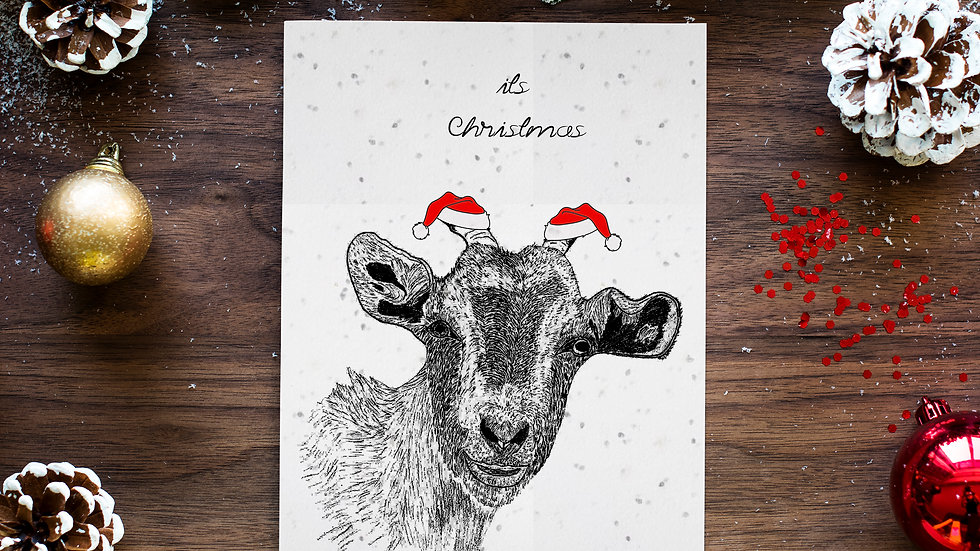goat 2/seed embed greeting card, Handmade Greeting cards