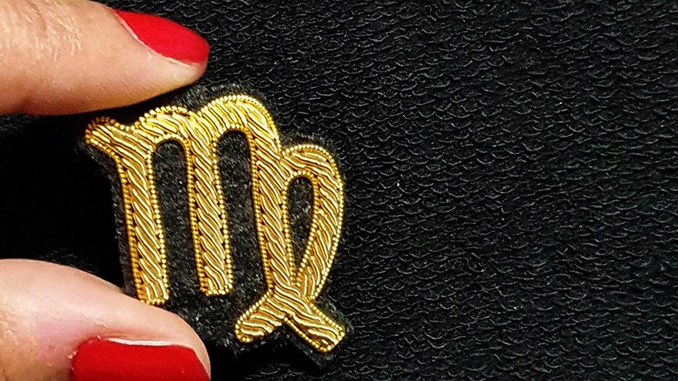 VIRGO - Zodiac Sign    - Gold Work Brooch