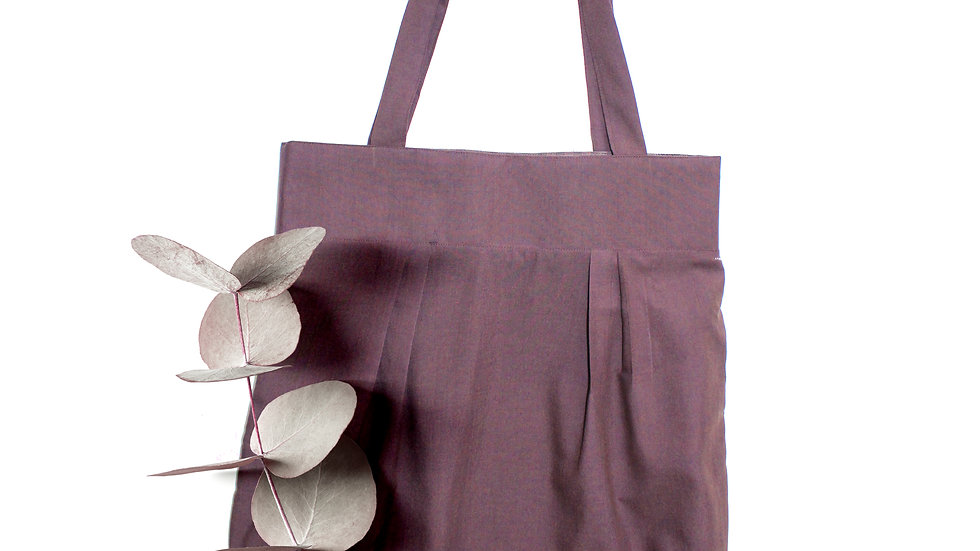 2 in 1 reversible hand made tote bag , Gingham/pure cotton,aubergine