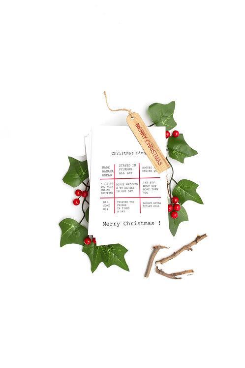 Christmas bingo ,seed embed greeting card, Handmade Greeting cards