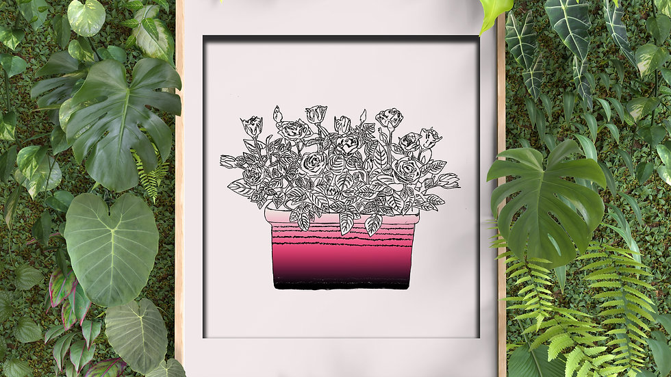 Framed wall decor  (rectangular flowerpot)
