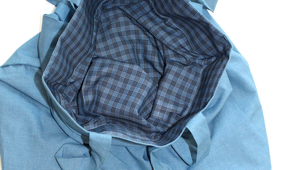 2 in 1 reversible hand made tote bag , Gingham/pure cotton, jade blue