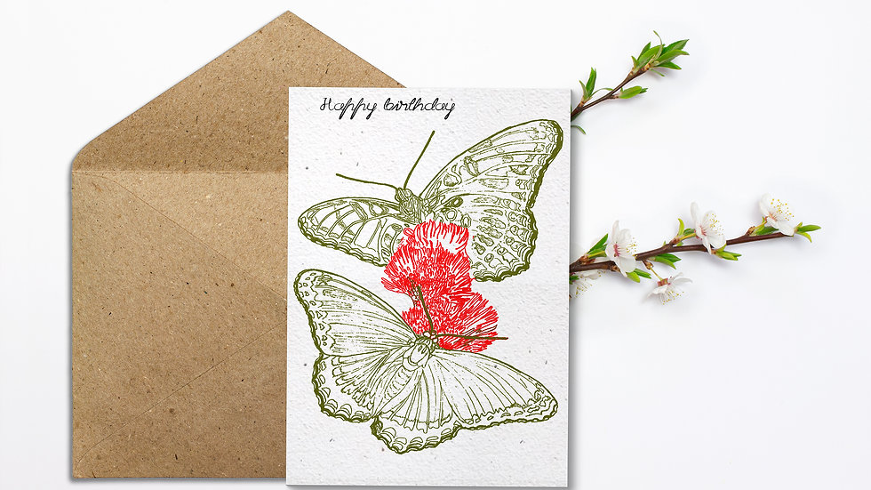 Seed embed plantable greeting card-Butterflies