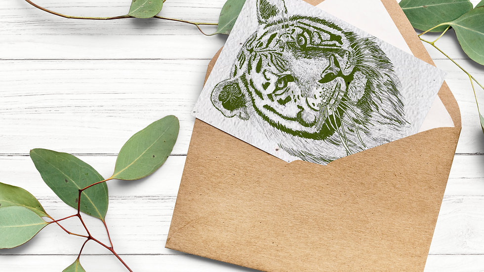 Seed embed plantable greeting card- Tiger