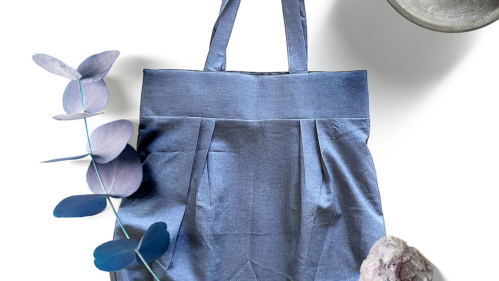 2 in 1 reversible hand made tote bag  Gingham/pure cotton,dull blue