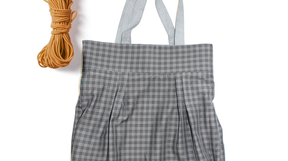 2 in 1 reversible hand made tote bag , Gingham/pure cotton,grey