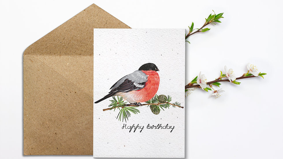 Seed embed plantable greeting card-Robin