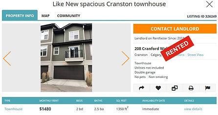 Calgary rent townhouse