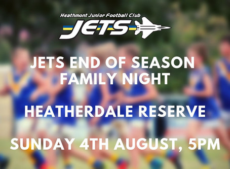 Jets End of Season Family Night - 4th Aug