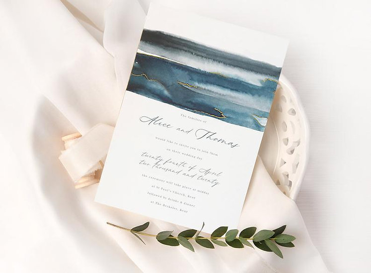 N A V Y . & . G O L D . wedding invitation
