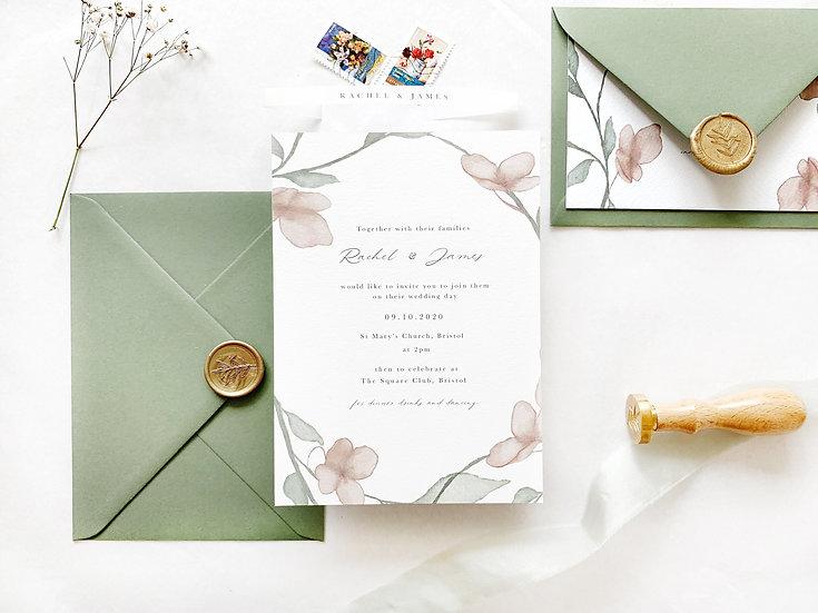 R A C H E L . wedding invitation