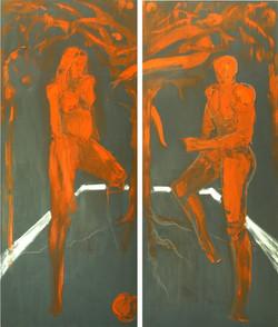 ADAM & EVE 2008 oil on canvas 160X140cm