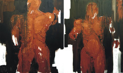 """Adam_and_Eve,_2010,_oil_on_canvas,_two_sections,_150X270,_59X106,5"""""""
