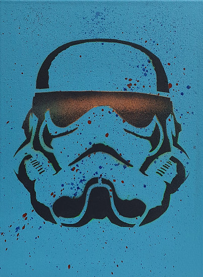 Spaceman portrait 25x20cm Spray paint on canvas street art