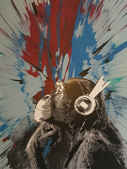'Disco Chimp - Warp' 80x60cm Canvas