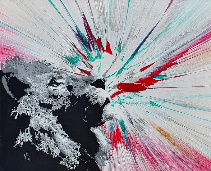 'King - Vortex' 80x60cm canvas fluid/spray art