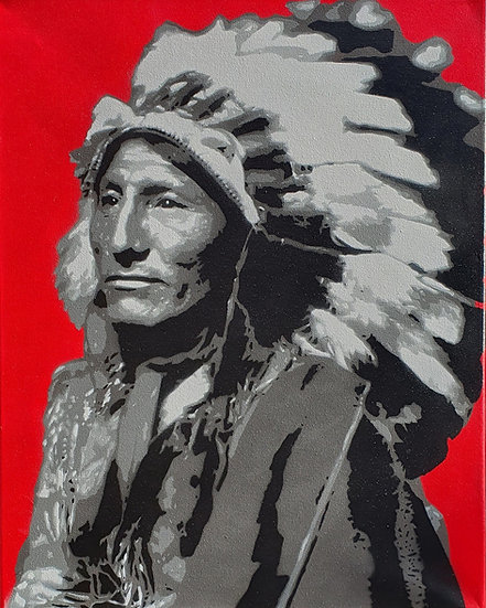 'Chief - Red' Stencil Art on 50x40cm stretched canvas.