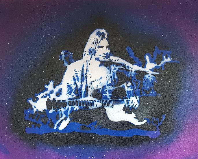 Kurt Cobain Nirvana in session portrait 50x40cm Spray paint on canvas.