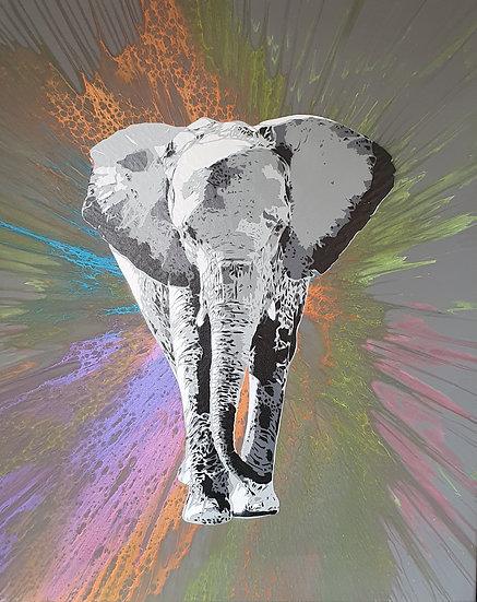 'Africa - Dusk' 80x60cm Canvas Stencil Art.