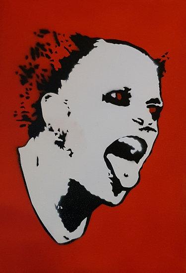 Keith Flint portrait. 25x20cm Spray paint on canvas.
